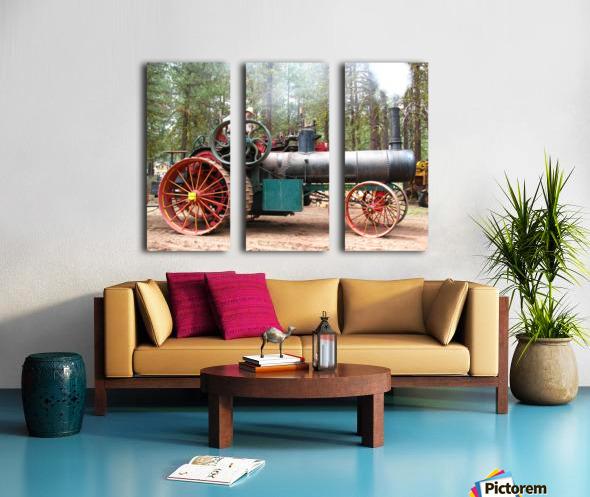Logging Steam Tractor Split Canvas print