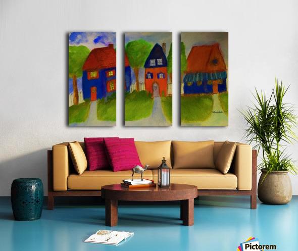 Whimsical Houses Split Canvas print