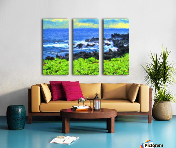 Hana Beach Hawaii Watercolor Split Canvas print