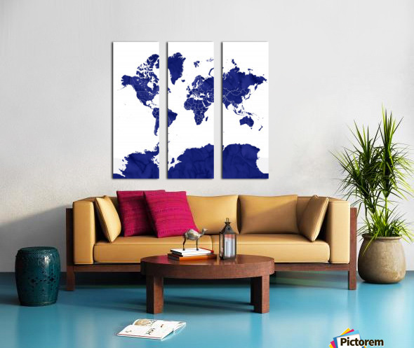 navy blue world map with outlined countries Split Canvas print