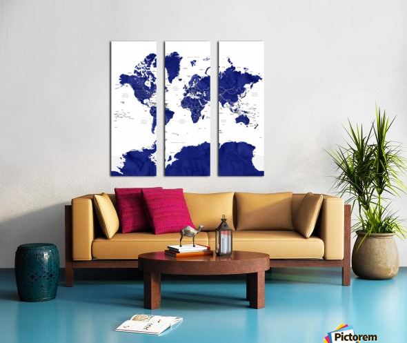 Navy blue watercolor world map with countries and states labelled Split Canvas print