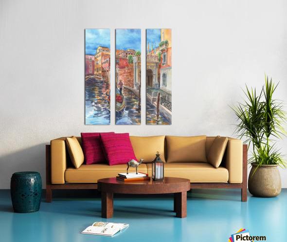 Venice Canal And Gondolier Italian City Landscape  Split Canvas print