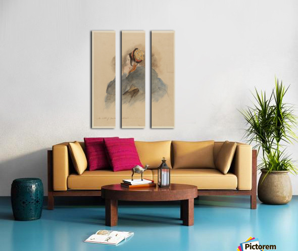 A Girl Seated, in Profile to Left Split Canvas print