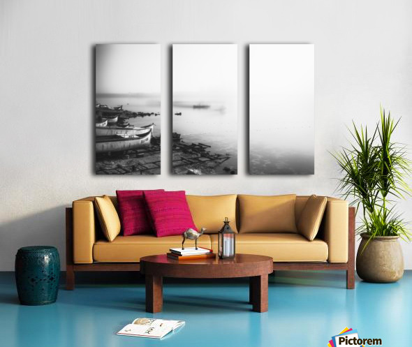 Foggy fishing port Split Canvas print
