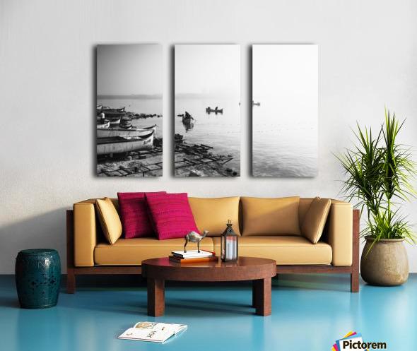 Fishing boats at the foggy port of Balchik Split Canvas print