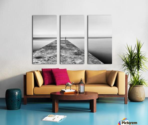 Fisherman angling at sunset Split Canvas print