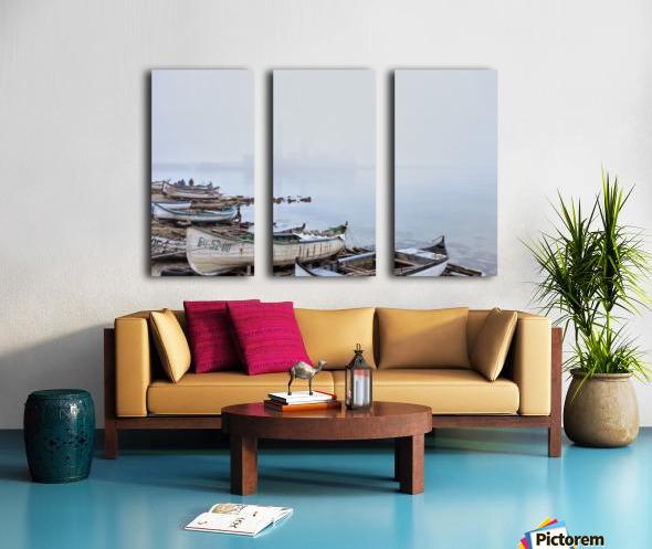 Fishing boats in fog Split Canvas print