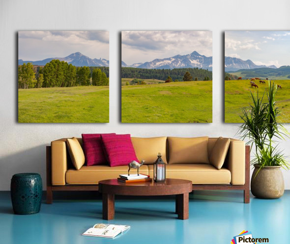 Wilson Peak with Horses Split Canvas print