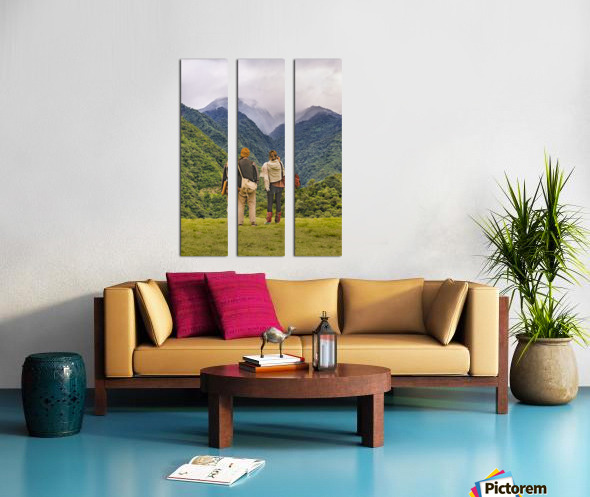 Young Backpackers at Top of Mountain, Banos, Ecuador Split Canvas print