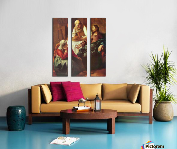 Christ with Mary and Martha by Vermeer Split Canvas print