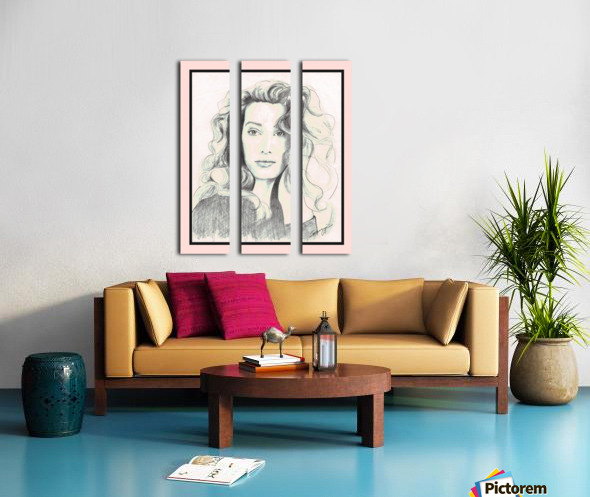 Lady from a Magazine in Pastels w- pink mat Split Canvas print