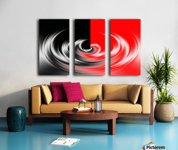Black White Red Abstraction Split Canvas print