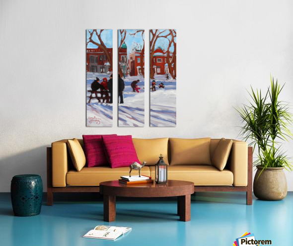 Learning to Skate at Outremont Park. Split Canvas print