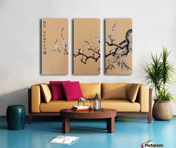 White Plum Blossom With Bamboo Split Canvas print