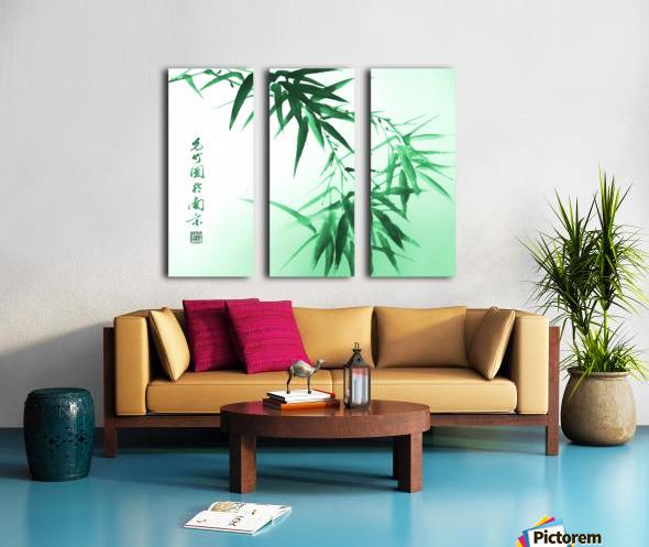 Green Bamboo Twig Split Canvas print
