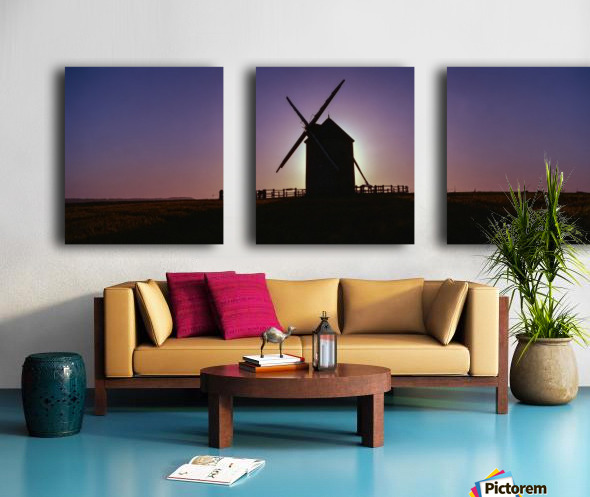 Windmill against the sunset north west France. Split Canvas print