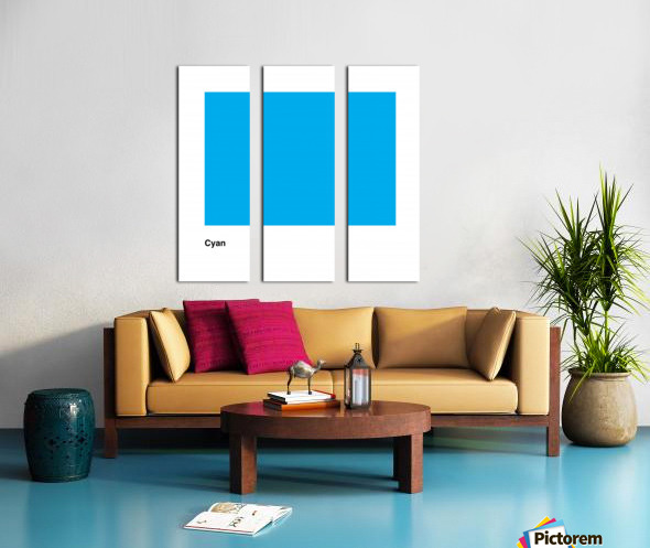 Solid Cyan Process color with word Split Canvas print