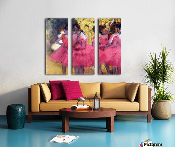 Dancers in pink between the scenes by Degas Split Canvas print