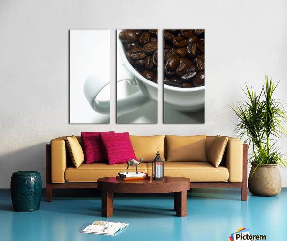 Coffee Beans in white mug Split Canvas print