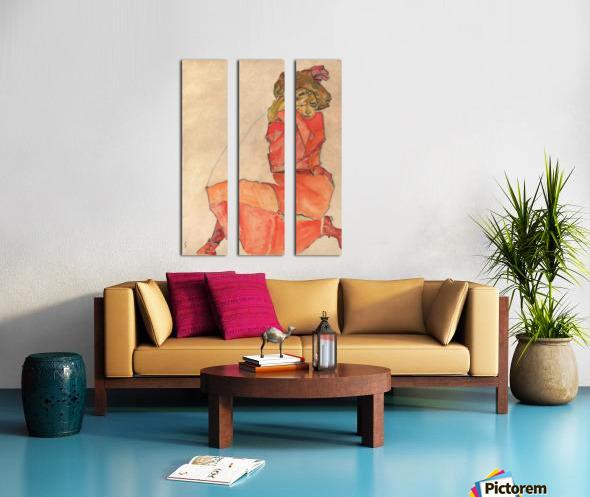 Egon Schiele - Kneeling Woman in Orange-Red Dress Split Canvas print