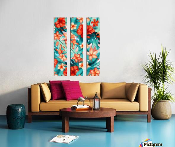 Vibrant Tropical Floral  Split Canvas print