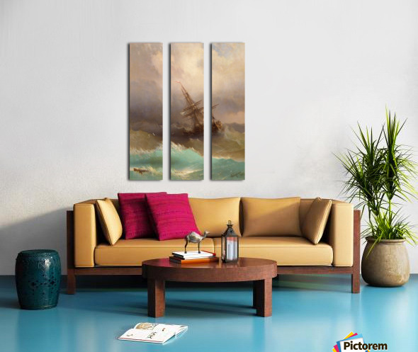 Ship in the Stormy Sea Split Canvas print