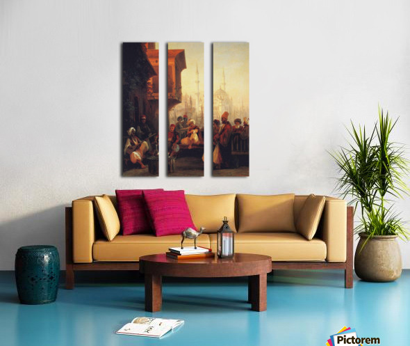 Coffee house by the Ortakoy Mosque in Constantinople Split Canvas print