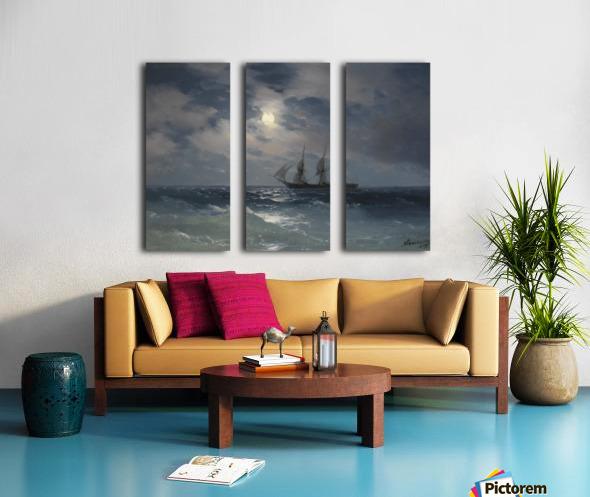 The Brig Mercury in moonlight Split Canvas print