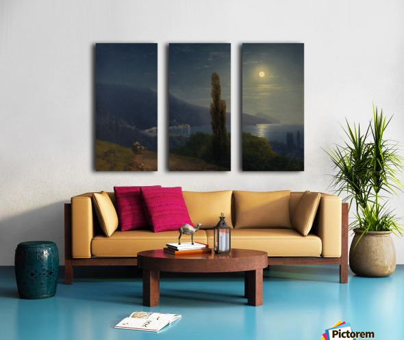 Moonlight by the sea Split Canvas print