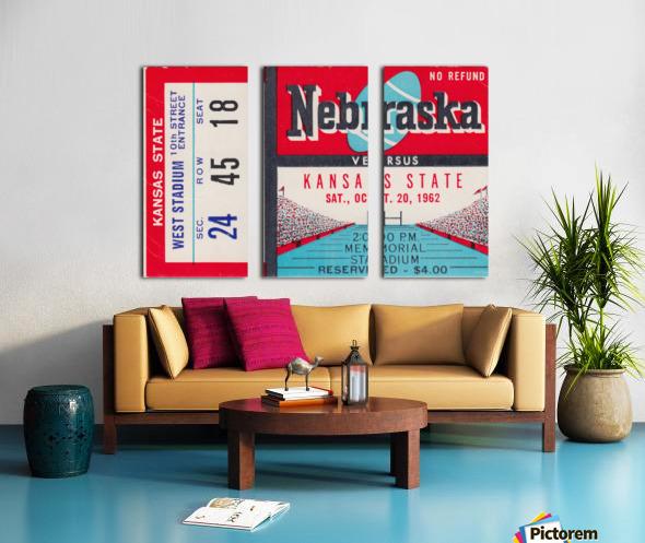 1962 Kansas State vs. Nebraska Cornhuskers Ticket Stub Split Canvas print
