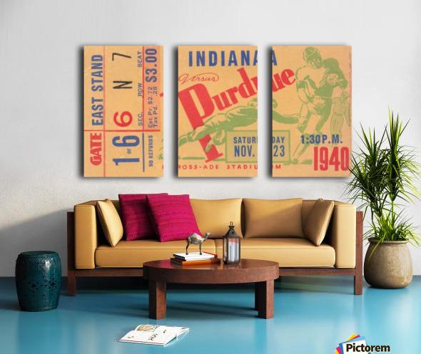 1940 Indiana vs. Purdue Football Ticket Canvas Split Canvas print