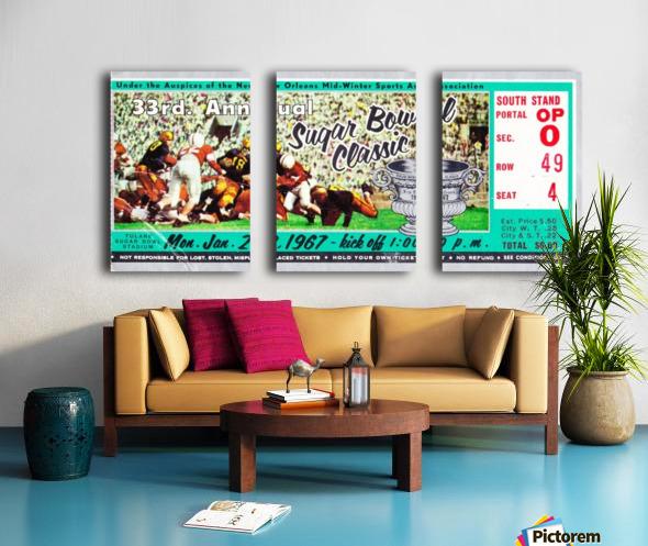 1967_College_Football_Sugar Bowl_Nebraska vs. Alabama_Tulane Stadium_Row One Brand Ticket Stub Art Split Canvas print