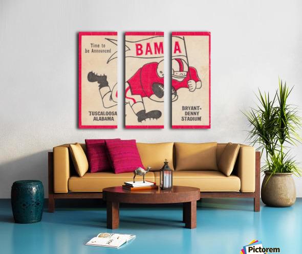 1980 Bama Football Player Flag Art_Tuscaloosa Alabama_Bryant Denny Stadium_Ticket Stub Art Creations Split Canvas print
