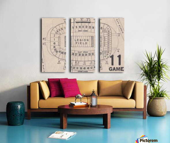 Legion Field Stadium Map Art_Vintage College Football Map Art Split Canvas print
