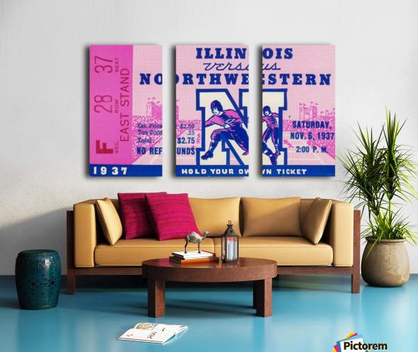 1937_College Football Collection_Northwestern vs. Illinois_Historic Dyche Stadium Evanston_Ticket Split Canvas print