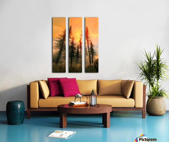 Pine Woods Sunset Fantasy Split Canvas print
