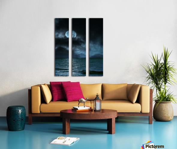 Cloudy Moon Shore at Night Split Canvas print