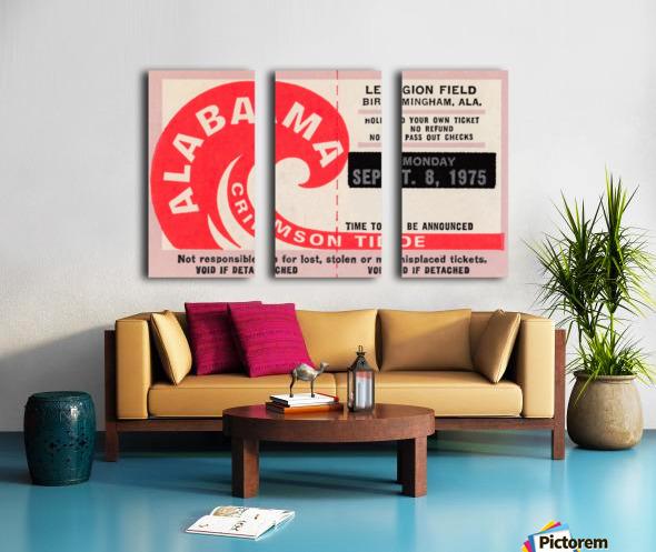 1975 University of Alabama Crimson Tide Football Ticket Stub Art Poster Split Canvas print