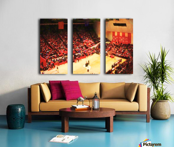1987_College_Basketball_Indiana Hoosiers_Bloomington Assembly Hall Watercolor Basketball Art Print Split Canvas print