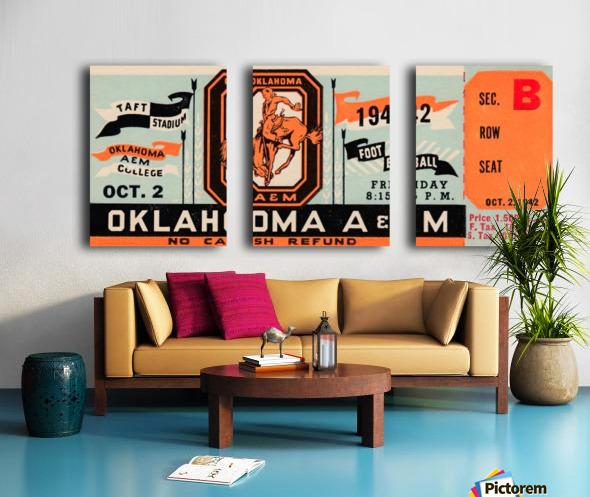 Oklahoma A&M Aggies Football Ticket Stub Art OSU Cowboys Ok State College Football Art Split Canvas print