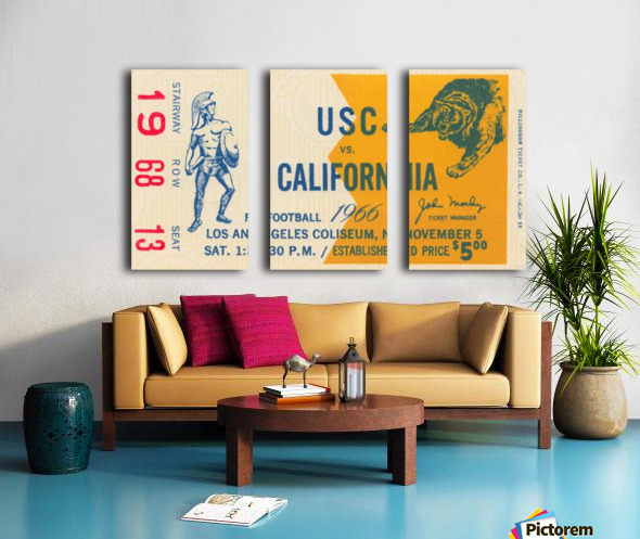 College Football Ticket Stub Collection_1966 USC vs. California Football Ticket Art Row One Brand (1) Split Canvas print