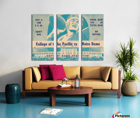 1940_College_Football_Pacific vs. Notre Dame_Notre Dame Stadium_Notre Dame Ticket Stub Art II Split Canvas print