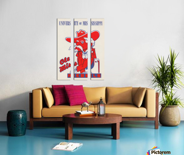 1975 College Mascot Art Reproduction University of Mississippi Ole Miss Rebels_Colonel Reb Art (1) Split Canvas print