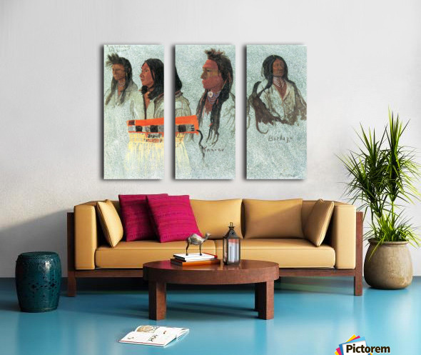 Four Indians by Bierstadt Split Canvas print