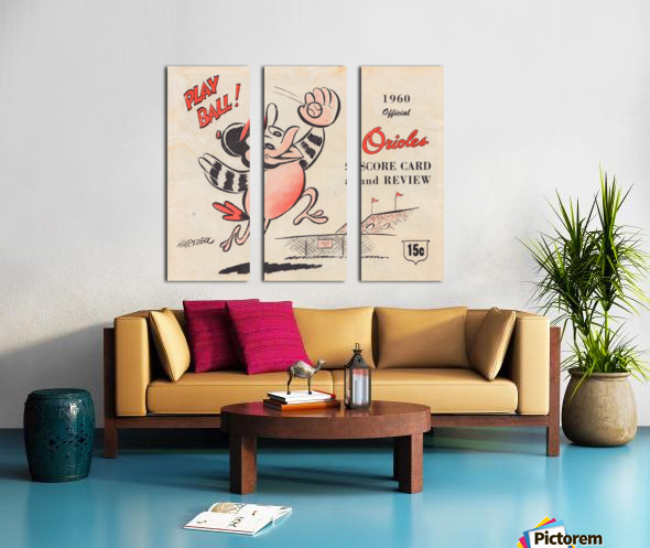 1960 baltimore orioles baseball score card art baseball poster Split Canvas print