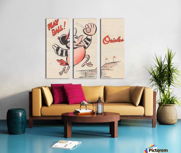 vintage baltimore orioles play ball art cartoon baseball poster metal canvas acrylic art Split Canvas print