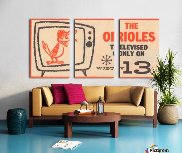 wjz tv baltimore maryland channel 13 television ad orioles baseball retro media ads Split Canvas print