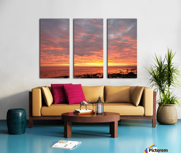 Dramatic sunset at a small bay Split Canvas print