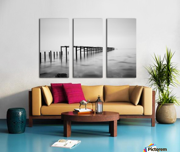 Abandoned pier in the sea at sunset Split Canvas print