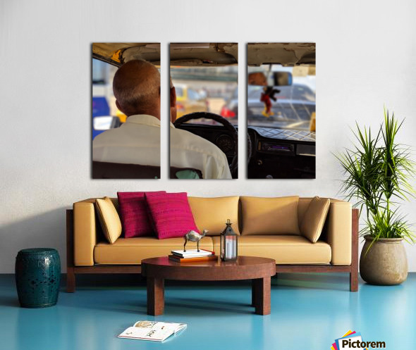 Taxi driver in Cuba Split Canvas print